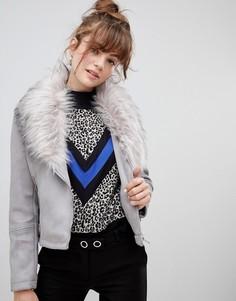 Байкерская куртка из искусственной замши и меха New Look - Серый