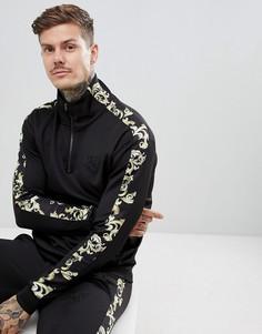 Черная спортивная куртка с полосками по бокам SikSilk - Черный