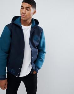 Сине-зеленая университетская куртка с капюшоном Armani Exchange - Темно-синий