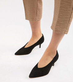 Остроносые туфли с каблуками-рюмочками для широкой стопы London Rebel - Черный