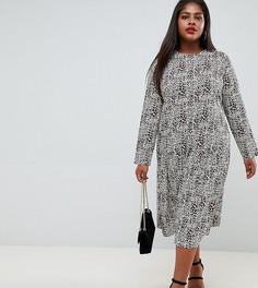 Свободное платье миди со звериным принтом ASOS DESIGN Curve - Мульти