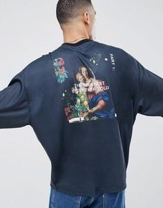 Oversize-футболка с рукавами до локтя и принтом ASOS DESIGN - Черный