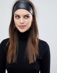 Черная широкая повязка на голову из искусственной кожи ASOS DESIGN - Черный