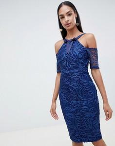 Кружевное платье-футляр с короткими рукавами Vesper - Синий