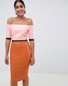 Платье-футляр с открытыми плечами и принтом Vesper - Мульти