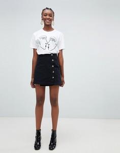 Асимметричная юбка с пуговицами New Look - Черный