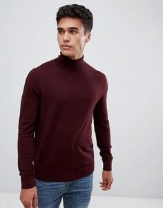 Бордовый джемпер с отворачивающимся воротником Burton Menswear - Красный