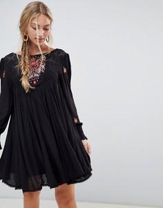 Свободное платье с вышивкой Free People Mohave - Черный