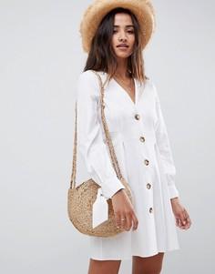Короткое приталенное платье на пуговицах ASOS DESIGN - Белый