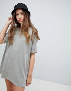 Бежевое платье-футболка Pull&Вear - Бежевый Pull&Bear