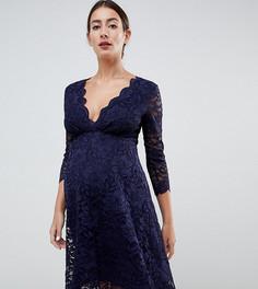 Кружевное темно-синее платье для выпускного с рукавами 3/4 Flounce London Maternity - Темно-синий