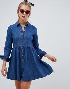 Синее свободное джинсовое платье-рубашка ASOS DESIGN - Синий