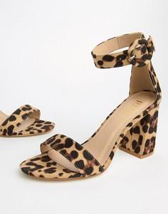 Босоножки с леопардовым принтом на блочном каблуке RAID Genna - Мульти