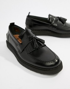 Fred Perry George Cox tassle leather loafers in black - Черный