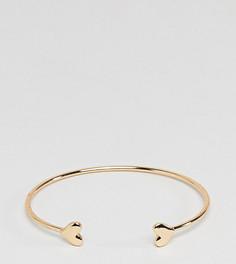 Золотистый браслет-манжета с сердечком ASOS DESIGN Curve - Золотой
