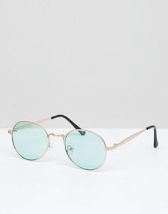 Круглые металлические солнцезащитные очки с зелеными стеклами ASOS DESIGN - Золотой