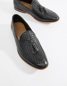 Черные лоферы из искусственной кожи с плетением и кисточками boohooMAN - Черный
