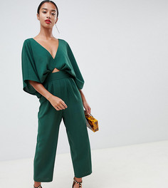 Комбинезон с рукавами-кимоно и широкими брюками со складками ASOS DESIGN Petite - Зеленый