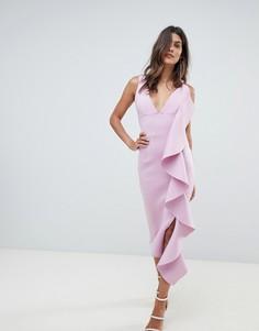 Асимметричное платье миди с оборками Lavish Alice - Фиолетовый