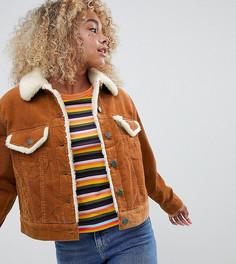 Рыжевато-коричневая вельветовая куртка с воротником борг ASOS DESIGN Petite - Светло-бежевый