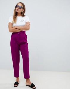 Зауженные брюки с поясом ASOS DESIGN tailored - Фиолетовый