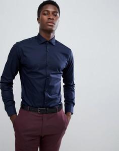 Приталенная рубашка с длинными рукавами Jack & Jones - Темно-синий