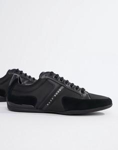 Черные замшевые кроссовки Boss - Черный