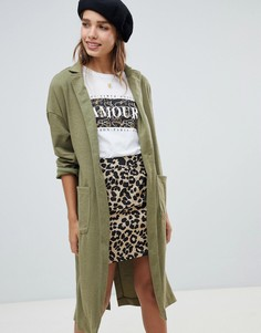 Длинное фактурное пальто New Look - Зеленый