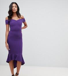 Фиолетовое платье миди с баской и открытыми плечами John Zack Tall - Фиолетовый