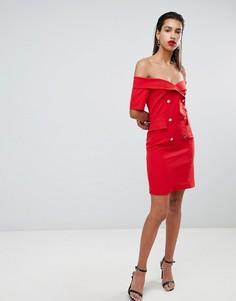 Красное платье-смокинг с открытыми плечами Morgan - Красный