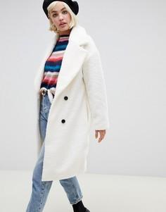 Фактурное двубортное пальто из шерсти Glamorous - Кремовый