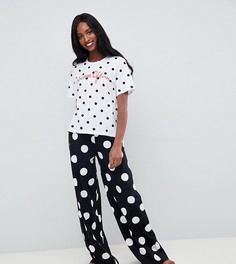 Пижама с широкими штанинами и вышивкой в горох ASOS DESIGN Tall - Черный