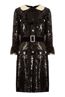 Черное платье с пайетками Gucci