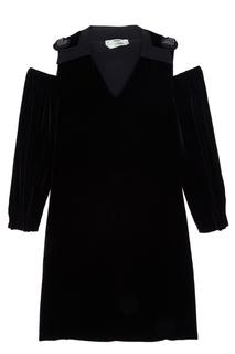 Бархатное платье с открытыми плечами Fendi