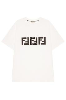 Белая футболка с принтом Fendi