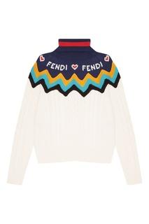 Кашемировый свитер с контрастной отделкой Fendi
