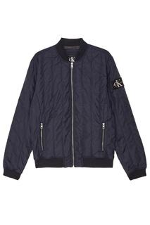 Стеганая синяя куртка с нашивкой Calvin Klein