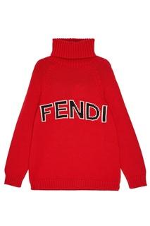 Красный свитер с логотипом Fendi