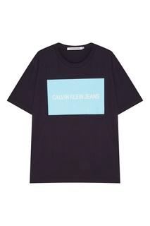 Темно-синяя футболка с логотипом Calvin Klein