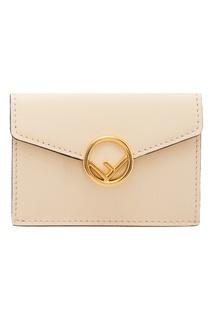 Бежевый кошелек с логотипом Fendi