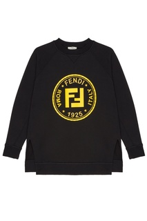 Черный свитшот с принтом и аппликацией Fendi