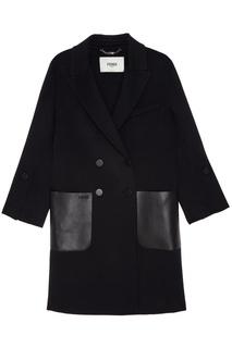 Черное двубортное пальто Fendi
