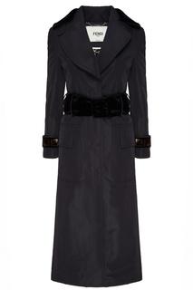 Черное пальто с отделкой Fendi