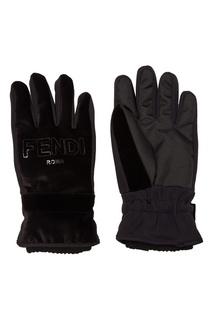 Черные перчатки с логотипом Fendi