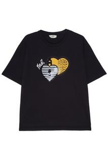Черная футболка с аппликацией Fendi