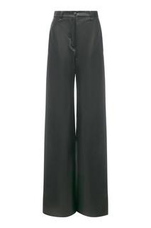 Расклешенные черные брюки из кожи Color Temperature