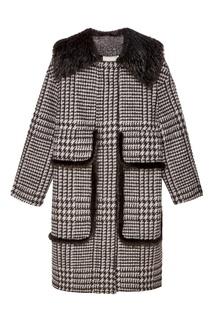 Пальто в клетку с мехом Color Temperature