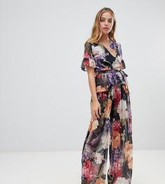 Комбинируемые брюки с широкими штанинами с цветочным принтом John Zack Petite - Мульти