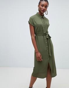 Платье-рубашка миди New Look - Зеленый