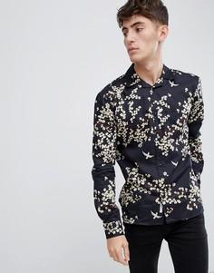 Рубашка с отложным воротником и цветочным принтом Bellfield - Черный